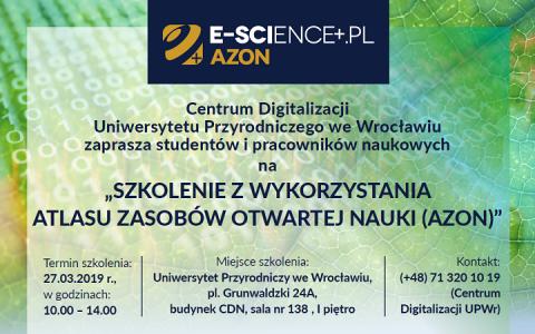 Zaproszenie na szkolenie z wykorzystania Atlasu Zasobów Otwartej Nauki (AZON)