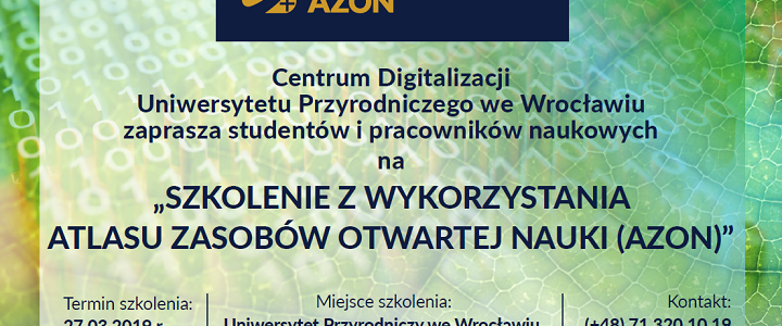 Zaproszenie naszkolenie zwykorzystania Atlasu Zasobów Otwartej Nauki (AZON)
